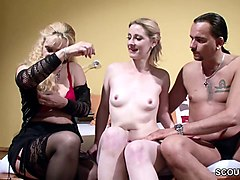 German, Couple, Swallow, Old and young couple swinger