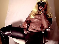 Leather, Orgasm, British mature in brown stockings