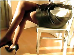 Leather, Stockings, Glamour starlets solo brown stocking